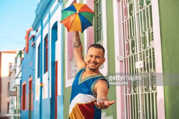 brazilian frevo dancer portrait - frevo imagens e fotografias de stock