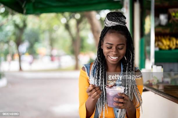 Brazilian Girl Eating Açai Acai Bowl