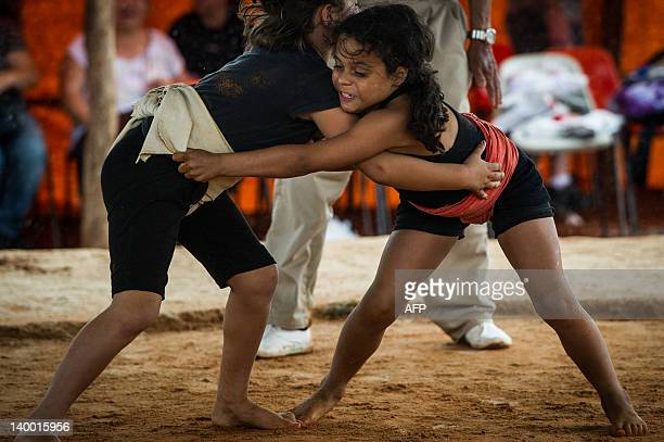 Brazilian girls take part in the under18 Japanese Sumo wrestling local tournament a preliminary for the national championship in Capao Bonito about...