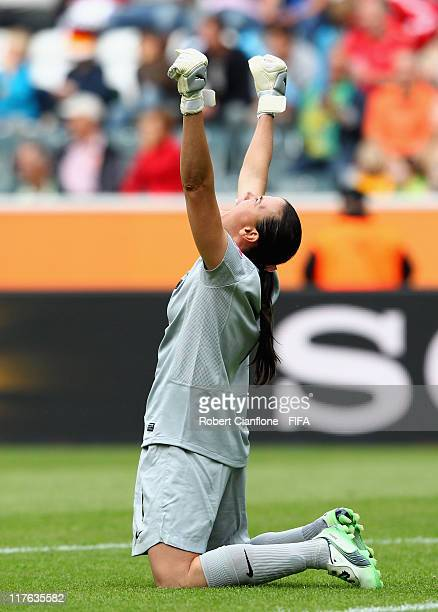 Brazilian goalkeeper Andreia celebrates her teams goal during the FIFA Women's World Cup 2011 Group D match between Brazil and Australia at the...