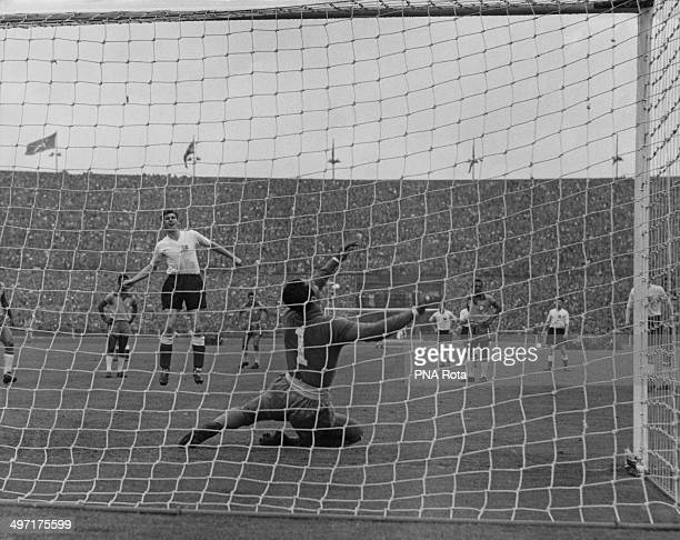 Brazilian goalkeeper Gylmar Neves saving a penalty shot from John Atyeo during England versus Brazil an International Friendly at Wembley Stadium 9th...
