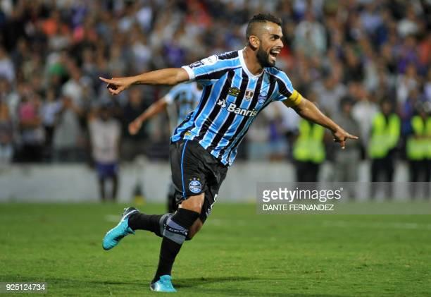 Brazilian Gremio Maicon celebrates after scoring against Uruguayan Defensor during a 2018 Copa Libertadores football match at the Luis Franzini...