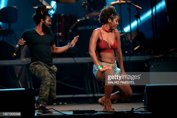 Brazilian group Heavy Baile performs during the Lula Livre Music Festival in Rio de Janeiro Brazil on July 28 2018 Brazilian musicians called for...