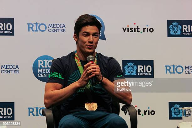 Brazilian gymnasts Arthur Nory who was medalist at the Olympic Games Rio 2016 during a press conference in Rio de Janeiro Brazil on 20 August 2016 to...