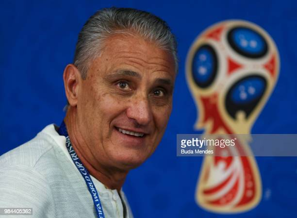 Brazilian Head Coach Tite meets with the media during a Brazil training session and press conference ahead of the Group E match against Serbia at...