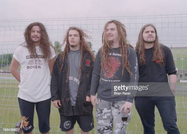 Brazilian heavy metal band Sepultura posed together at the 1994 Monsters of Rock festival at Castle Donington in Leicestershire England on 4th June...