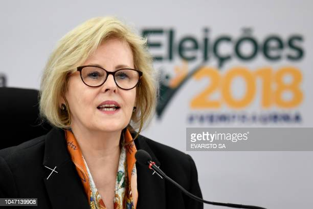 Brazilian Higher Electoral Court President judge Rosa Weber speaks during a press conference in Brasilia on October 7 2018 Brazilians began casting...