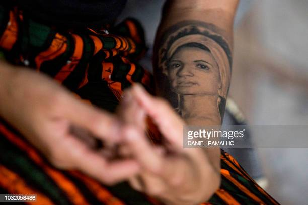 Brazilian human rights activist Monica Teresa Benicio widow of slain fellow activist Marielle Franco offers an interview to AFP in Rio de Janeiro...