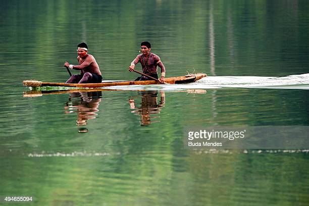 Brazilian Indians native practices canoeing during the first World Indigenous Games on October 25 2015 in Palmas Brazil