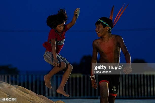 Brazilian indigenous children play during the first World Indigenous Games on October 25 2015 in Palmas Brazil