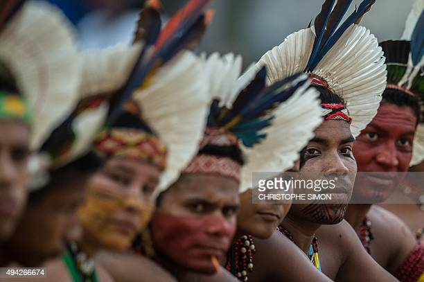 Brazilian indigenous people attend the competitions during the first World Indigenous Games in Palmas Tocantins Brazil on October 25 Brazil AFP PHOTO...