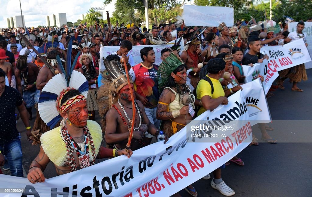 Image result for indigenous people march for land brazil