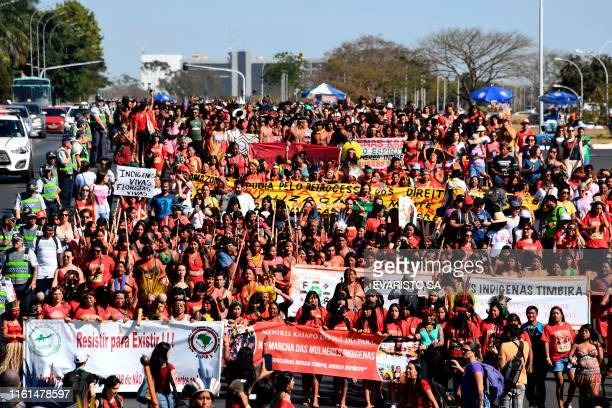 Brazilian indigenous women march in Brasilia on August 13 2019 Some 3000 indigenous women from all over Brazil demonstrated Tuesday in Brasilia to...
