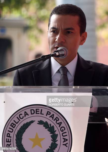 Brazilian Industry Foreign Trade and Services Minister Marcos Pereira delivers a speech during the official presentation of the cars for the campaign...