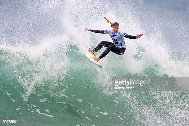 Brazilian Jacqueline Silva of Florianopolis in action during the Roxy Jam UK Presented by Samsung Association of Surfing Professionals Women's World...