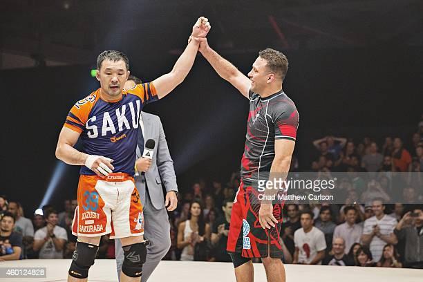 Metamoris V Brazil Renzo Gracie and Japan Kazushi Sakuraba victorious after fight at Long Beach Convention Center Draw Long Beach CA CREDIT Chad...