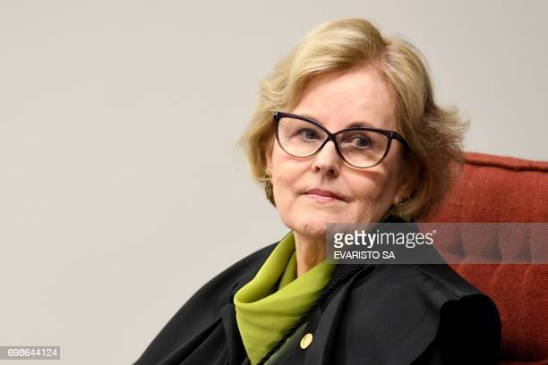 Brazilian Judge Rosa Weber attends a session of the Federal Supreme Court on June 20 2017 in Brasilia The court is considering a new arrest warrant...