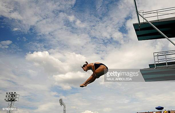 Brazilian Juliana Veloso competes in diving women's 1m springboard during the IX South American Games in Medellin Antioquia department Colombia on...