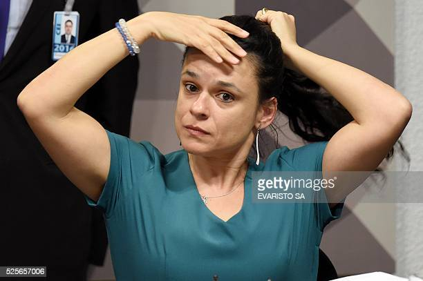 Brazilian jurist Janaina Paschoal coauthor of the complaint against President Dilma Rousseff attends a sesion of the Senate's Impeachment Special...