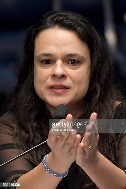 Brazilian jurist Janaina Paschoal coauthor of the complaint against President Dilma Rousseff speaks during the Senate impeachment trial of Brazilian...