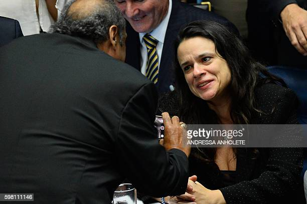 Brazilian jurist Janaina Paschoal coauthor of the complaint against suspended president Dilma Rousseff gives autographs and receives congratulations...