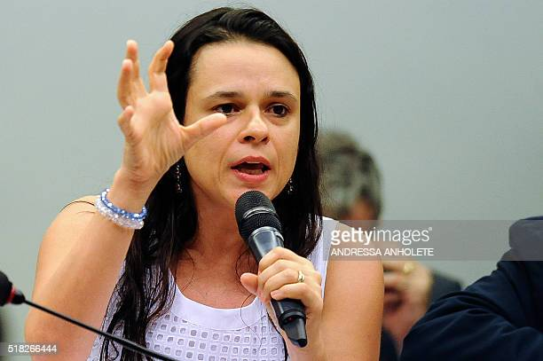 Brazilian jurist Janaina Paschoal speaks before the impeachment committee at the Chamber of Deputies in Brasilia in March 30 2016 Brazilian President...
