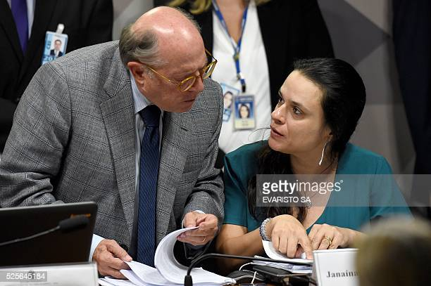Brazilian jurists Janaina Paschoal and Miguel Reale Junior authors of the complaint against President Dilma Rousseff talk during the Senate's...