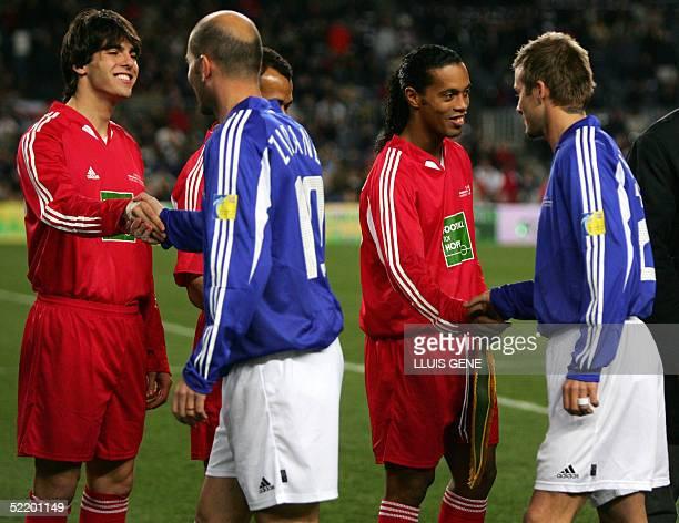 Brazilian Kaka French Zidane Brazilian Ronaldinho and British Beckham before their football match Tsunami Football for Hope at the Camp Nou stadium...