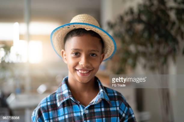 brazilian kid portrait with costume of junina party (festa junina) - commercial event stock photos and pictures