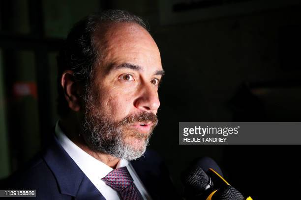 Brazilian lawyer Carlos Kauffman speaks to journalists after his client Jorge Barata testified at the Federal Public Prosecutor's Office in Curitiba...