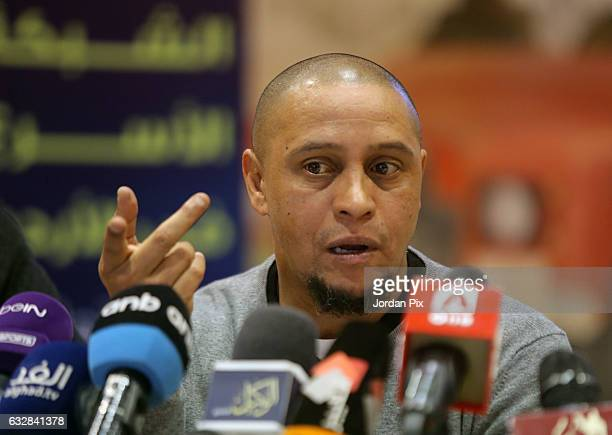 Brazilian legend footballer ambassador for Real Madrid footballer Roberto Carlos holds a press conference upon his arrival for the opening of the...