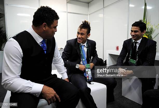 Brazilian legend Ronaldo and Neymar talk before the Preliminary Draw of the 2014 FIFA World Cup at Marina Da Gloria on July 30 2011 in Rio de Janeiro...
