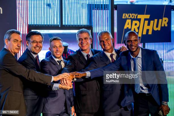 Brazilian midfield Arthur Henrique Ramons de Oliveira Melo is presented as new FC Barcelona's player at Camp Nou staium on Barcelona Catalonia Spain...