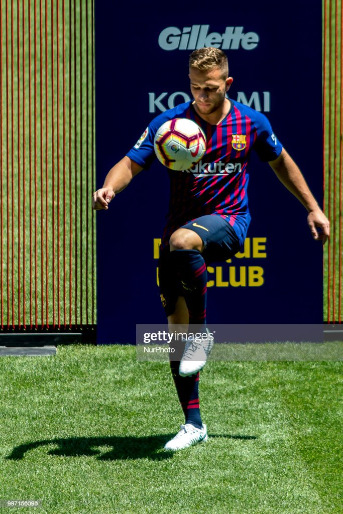 Brazilian midfield Arthur Henrique Ramons de Oliveira Melo is presented as new FC Barcelona's player at Camp Nou staium on Barcelona, Catalonia, Spain in July 12, 2018.
