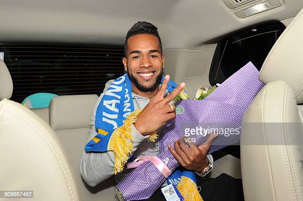 Brazilian midfielder Alex Teixeira arrives at Nanjing Lukou International Airport on February 13 2016 in Nanjing China Alex Teixeira has signed a...