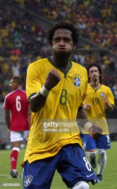 Brazilian midfielder Fred celebrates after scoring against the Dominican Republic the team's fifth goal during a U23 friendly match held at the...
