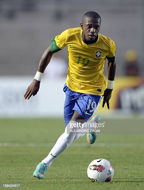 Brazilian midfielder Fred controls the ball during their South American U-20 Championship Group B football match against Uruguay, at Bicentenario...