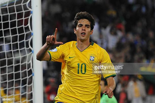 Brazilian midfielder Kaka celebrates after scoring a penalty the fourth goal against Egypt during the Fifa Confederations Cup football match Brazil...