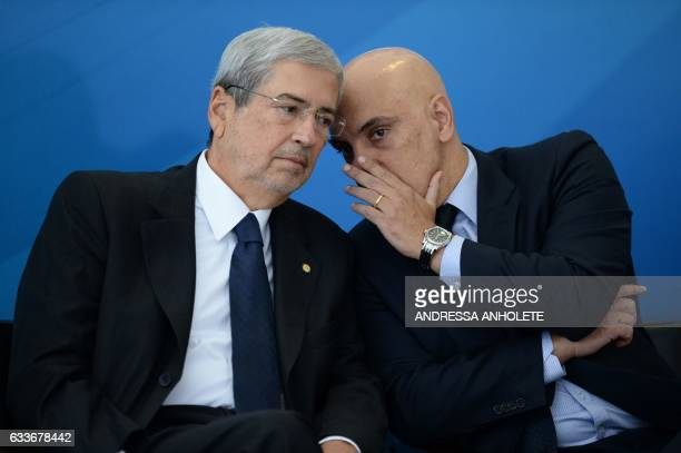 Brazilian Minister of Justice and Public Security Alexandre de Moraes and Minister of Government Secretariat Antonio Imbassahy talk during the...