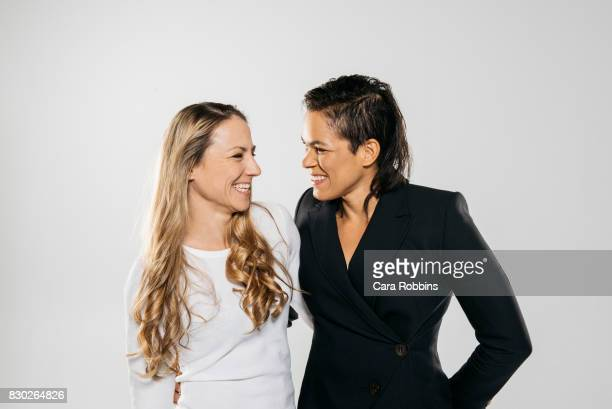 Brazilian mixed martial artist Amanda Nunes and partner Nina Ansaroff are photographed for on January 17 2017 in Los Angeles California