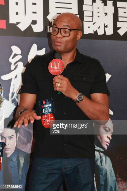 Brazilian mixed martial artist Anderson Silva attends an activity to thank fans for their support on film 'The Invincible Dragon' on June 22 2019 in...