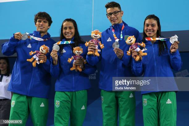 Brazilian Mixed Swimming relay team pose for a picture during the medal ceremony of Mixed 4x100m Fresstyle on Day 1 of the Buenos Aires 2018 Youth...