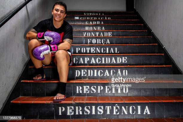 """Brazilian MMA athlete Jessica Andrade """"Bate Estaca"""" of PRTV team poses for a photo during a training session amidst the coronavirus pandemic at PRVT..."""