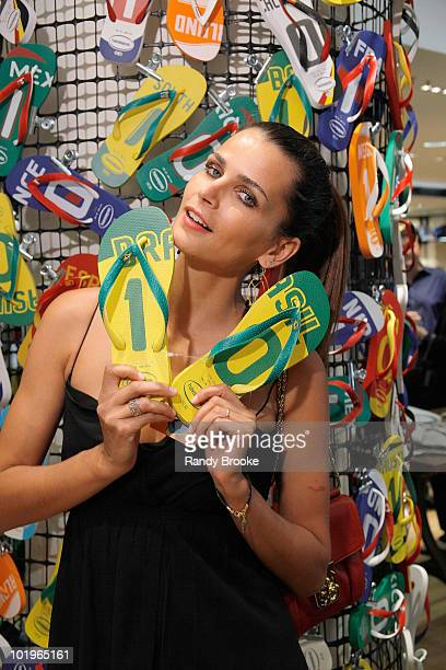 Brazilian model actress and television host Fernanda Motta attends the Havaianas launch at Barneys New York on June 10 2010 in New York City