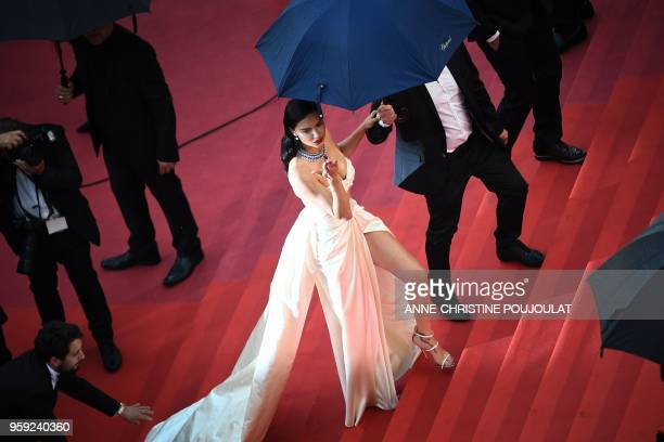 Brazilian model Adriana Lima arrives on May 16 2018 for the screening of the film 'Burning' at the 71st edition of the Cannes Film Festival in Cannes...