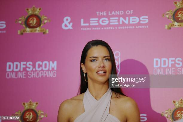 Brazilian model Adriana Lima attends a press conference during the Dosso Dossi Fashion Show in Antalya, Turkey on June 09, 2017.