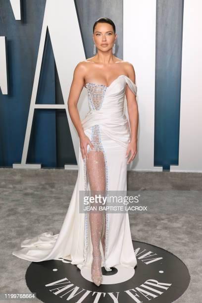 Brazilian model Adriana Lima attends the 2020 Vanity Fair Oscar Party following the 92nd Oscars at The Wallis Annenberg Center for the Performing...