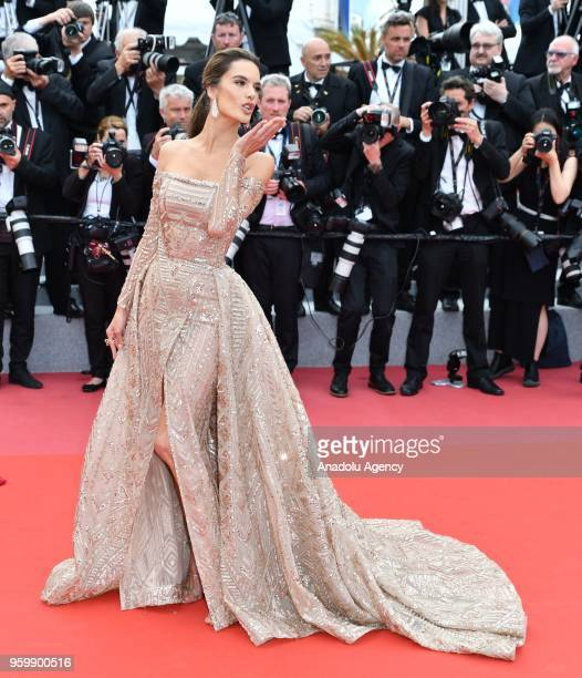 Brazilian model Alessandra Ambrosio arrives for the screening of the film 'The Wild Pear Tree ' at the 71st Cannes Film Festival in Cannes France on...