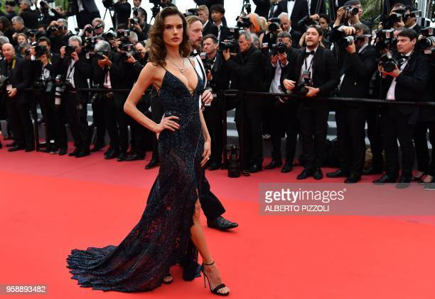 Brazilian model Alessandra Ambrosio arrives on May 15 2018 for the screening of the film 'Solo A Star Wars Story' at the 71st edition of the Cannes...