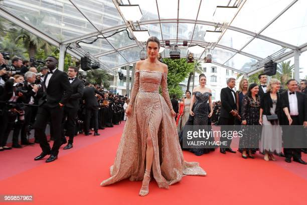 Brazilian model Alessandra Ambrosio arrives on May 18 2018 for the screening of the film 'The Wild Pear Tree ' at the 71st edition of the Cannes Film...